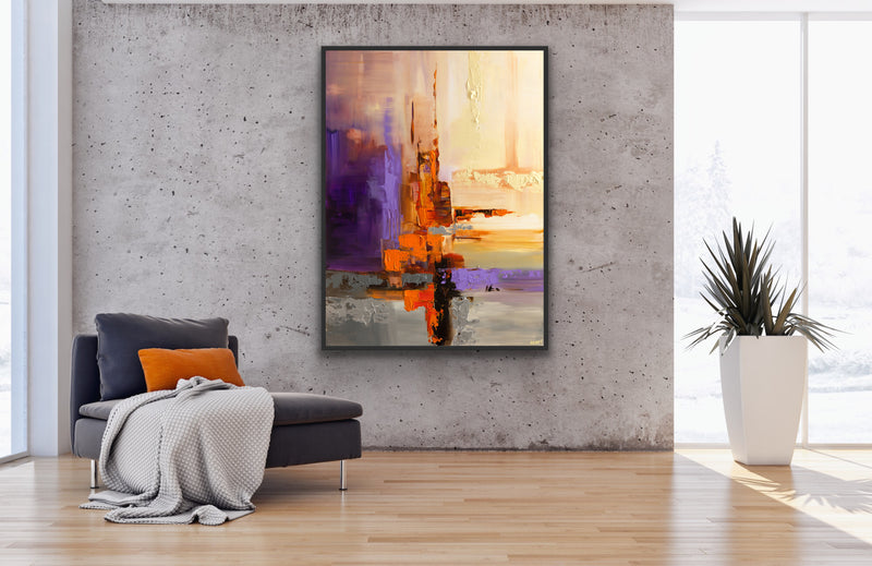 Canvas print wall art of an orange and purple abstract painting by by Osnat Tzadok.