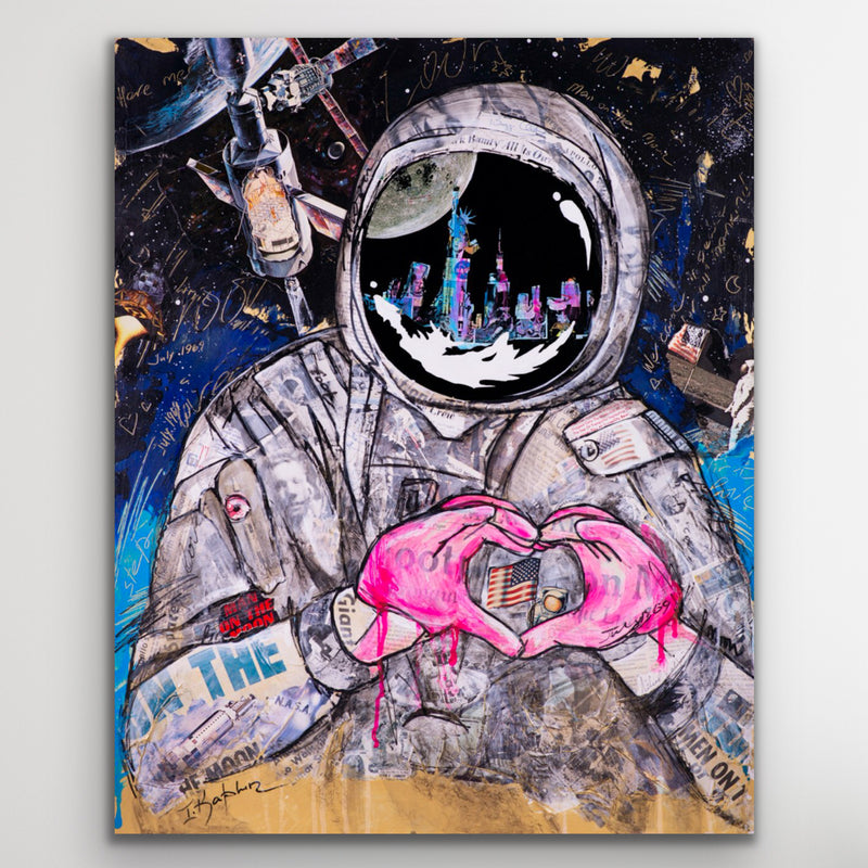 Canvas print wall art of a space astronaut originally done in mixed media collage by Iness Kaplun.