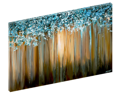 "Canvas print wall art of a blue and gold abstract painting titled ""Paradise"" by Osnat Tzadok."