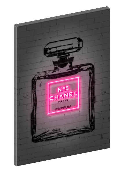 Canvas print wall art of neon Chanel No. 5 perfume bottle by  Octavian Mielu.