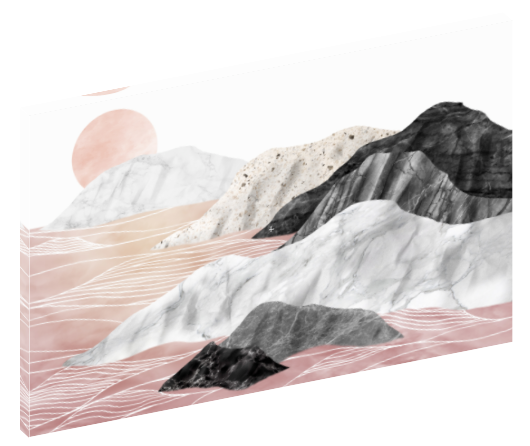 Canvas print wall art of abstract pink, black, and grey marble mountain landscape by amini54.