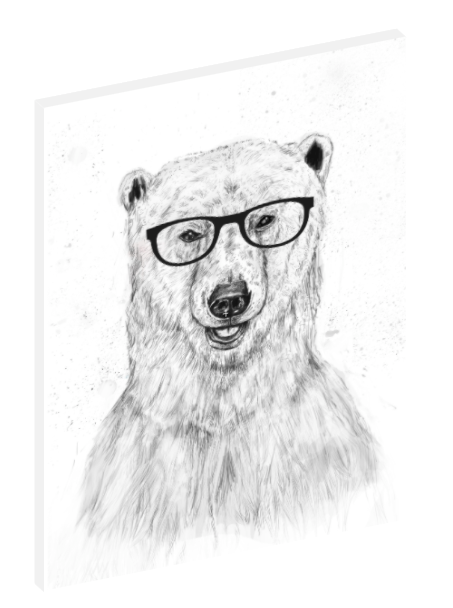 Canvas print wall art illustration of a polar bear with glasses by Balázs Solti.