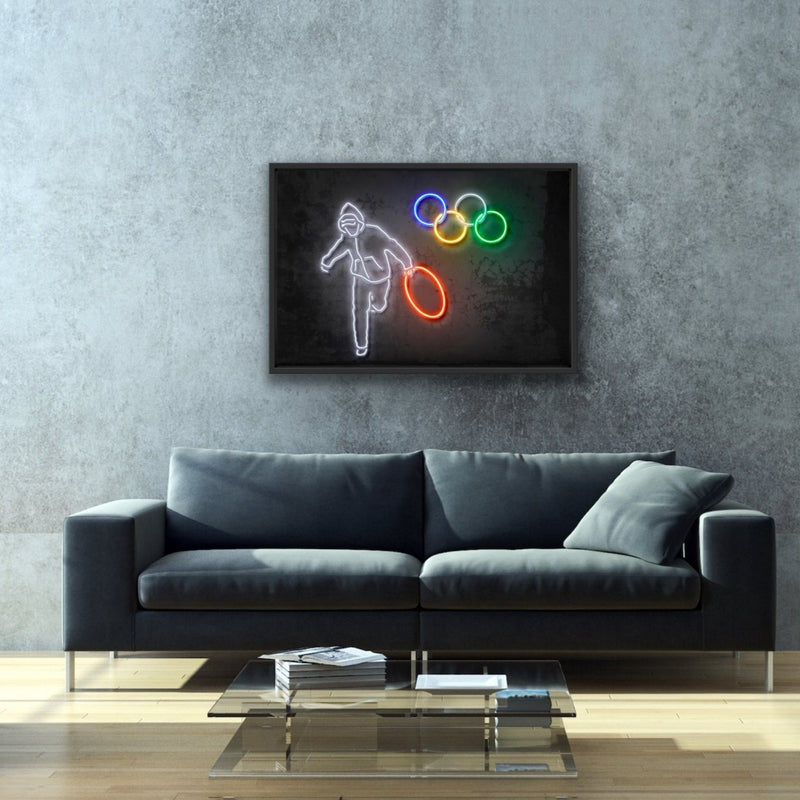 Canvas print wall art of neon Olympic Rings by Octavian Mielu.