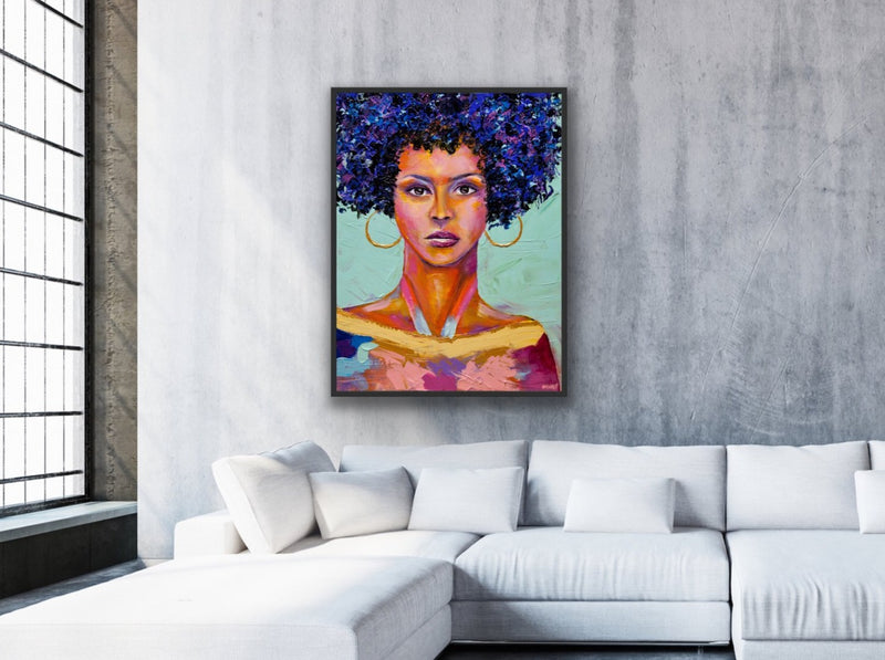 Canvas print wall art of a painting of the Queen of Sheeba by Oznat Tzadok.