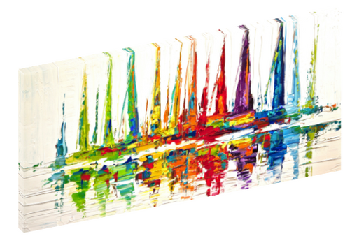 "Canvas print wall art of abstract rainbow color sail boats titled ""October Sail"" by Osnat Tzadok."