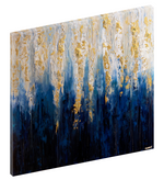 "Canvas print wall art of abstract royal blue, gold, and white painting titled ""Royal Blue"" by Osnat Tzadok."