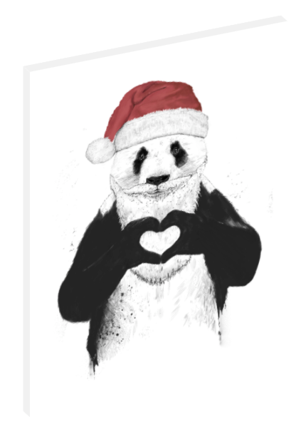 Canvas print wall art illustration of panda dressed liked Santa Claus by Balázs Solti.
