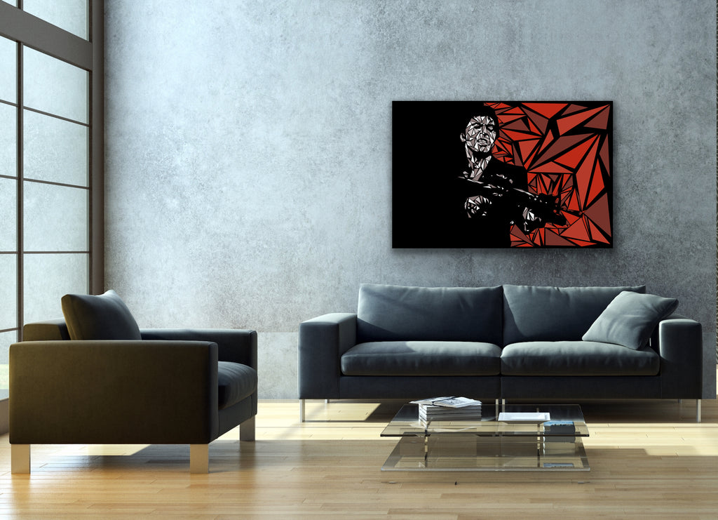 Canvas print wall art of pop art triangle collage of Scarface by Cristian Mielu.
