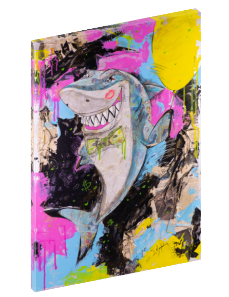 Canvas print wall art of shark with a dollar bill bow tie originally done in mixed media collage by Iness Kaplun.