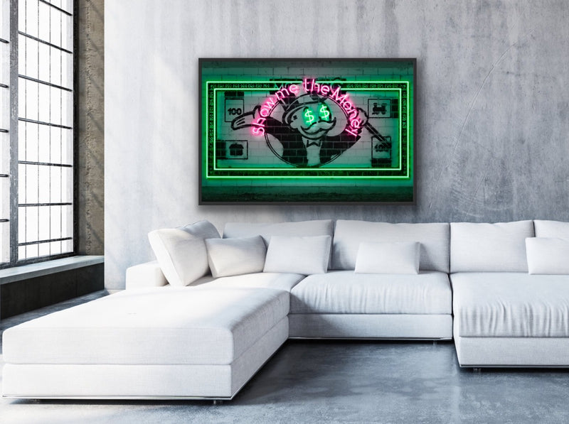 "Canvas print wall art of ""Show Me The Money"" bill by Octavian Mielu."