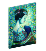 "Canvas print wall art of of asian woman decorated in a beautiful silk peafowl blouse titled ""Silk Peafowl"" by Chiara Magni."