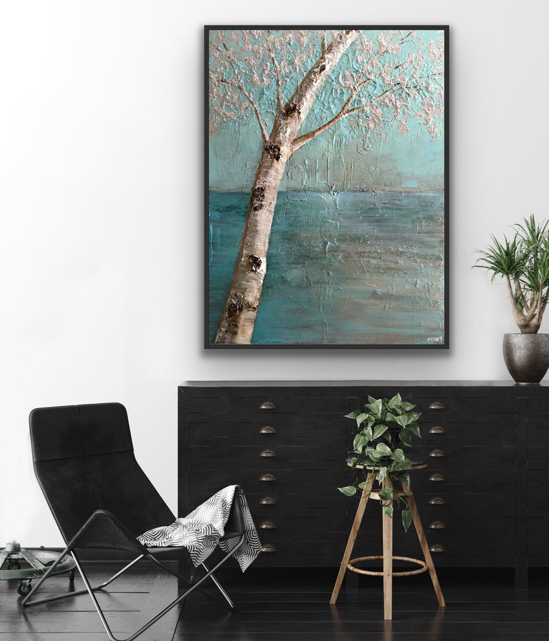Canvas print wall art of an abstract silver tree painted against a turquoise backdrop by Osnat Tzadok.