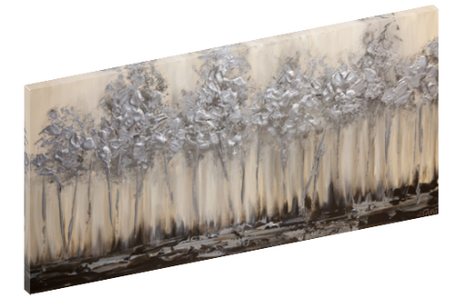 Canvas print wall art of a silver forest abstract painting by Osnat Tzadok.