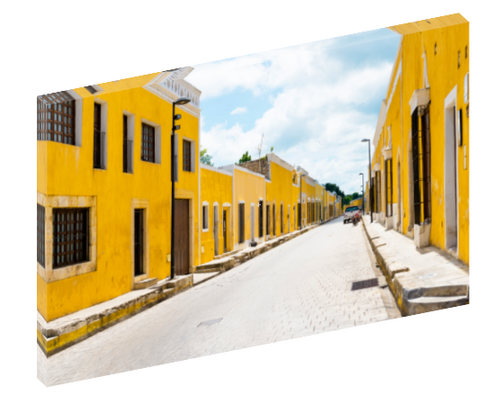 Canvas print wall art photograph alleyway of Izamal, Mexico.