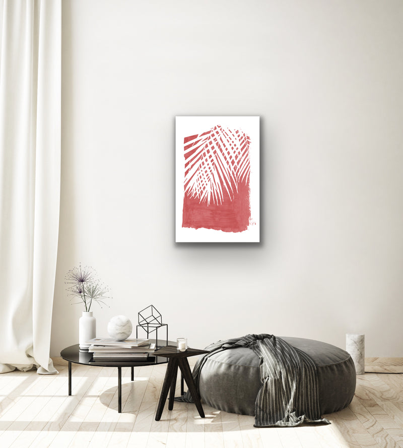 Canvas print wall art of a tropical plant in red by amini54. Pairs perfectly with Paint Strokes 2 and Paint Strokes 3 (each sold separately).