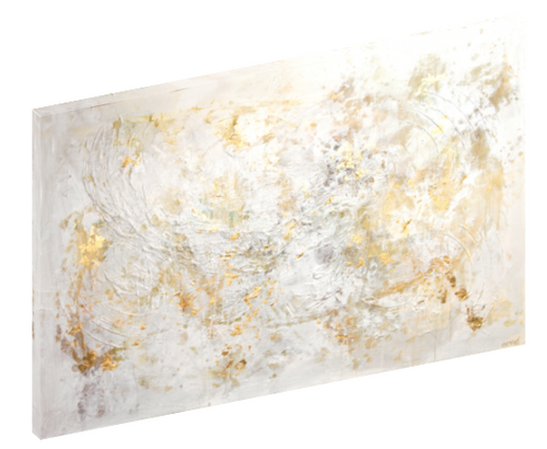 "Canvas print wall art of a white and gold abstract painting titled ""Whiteflex"" by Osnat Tzadok."