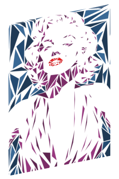 Canvas print wall art of pop art triangle collage of Marilyn Monroe by Cristian Mielu.