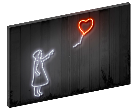 Canvas print wall art of neon girl with balloons pop art by Octavian Mielu.