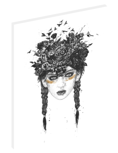 Canvas print wall art black and white illustration of a girl with flower pigtails.