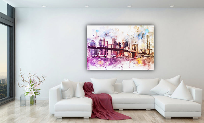 Canvas wall art watercolor painting of New York City and Brooklyn Bridge by Philippe Hugonnard.