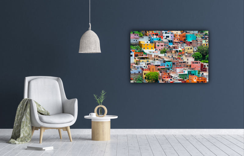 Canvas wall art photograph of the colorful city of Guanajuato, Mexico by Philippe Hugonnard.