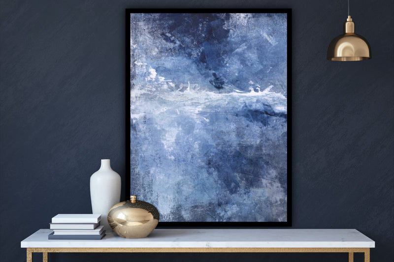 "Canvas wall art modern abstract painting titled ""Earnest Sea"" featuring tones of blue, navy, and purple by Julia Contacessi."