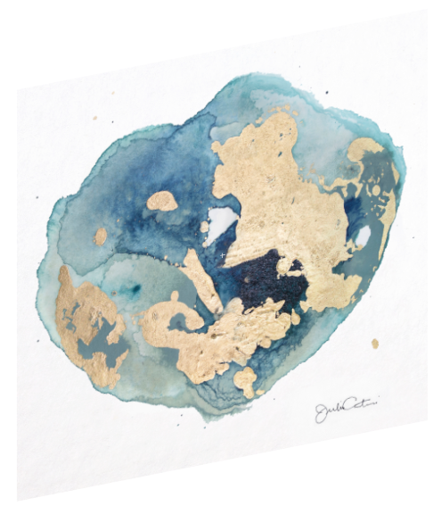 "Canvas wall art modern abstract painting titled ""Geode No. 1"" by Julia Contacessi featuring light and reflective gold, blue, and green colors to capture a sense of movement and dramatic composition."