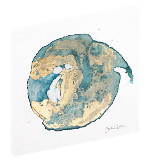 "Canvas wall art modern abstract painting titled ""Geode No. 2"" by Julia Contacessi featuring light and reflective gold, blue, and green colors to capture a sense of movement and dramatic composition."