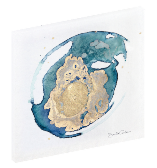 "Canvas wall art modern abstract painting titled ""Geode No. 3"" by Julia Contacessi featuring light and reflective gold, blue, and green colors to capture a sense of movement and dramatic composition."