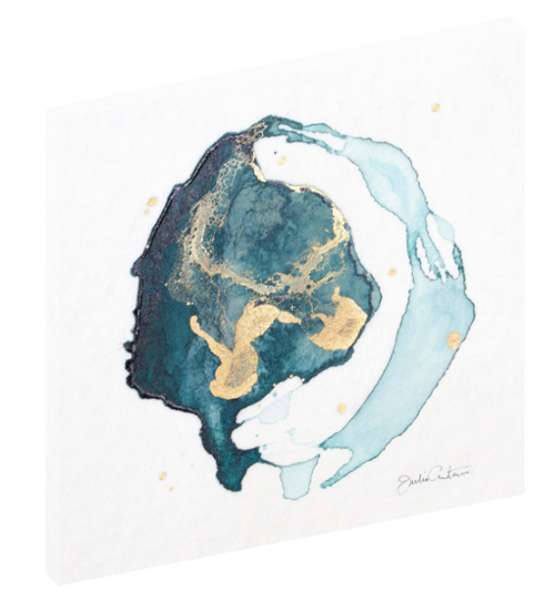 "Canvas wall art modern abstract painting titled ""Geode No. 4"" by Julia Contacessi featuring light and reflective gold, blue, and green colors to capture a sense of movement and dramatic composition."