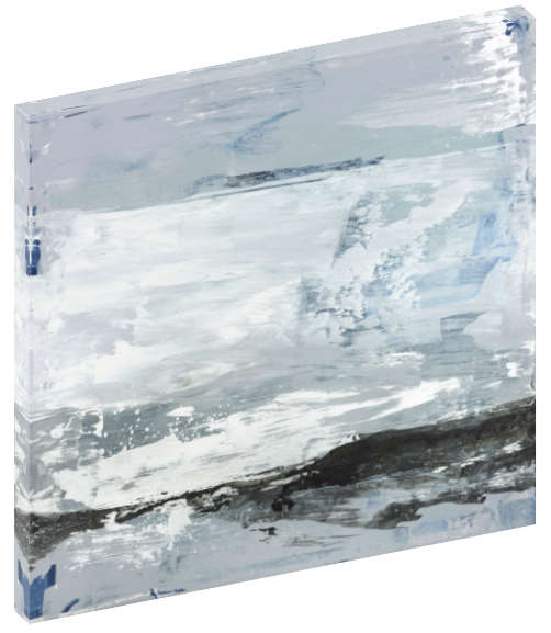 "Canvas wall art modern abstract painting titled ""Gleaning Truth No. 1"" by Julia Contacessi featuring light coastal palette colors and accents of silver."