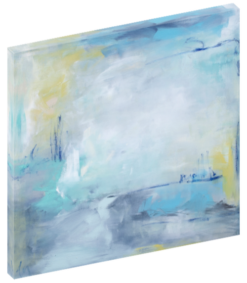 "Canvas wall art modern abstract painting titled ""Glimpses Within"" by Julia Contacessi featuring soft tones of yellow, blue, and green accented with line work details."