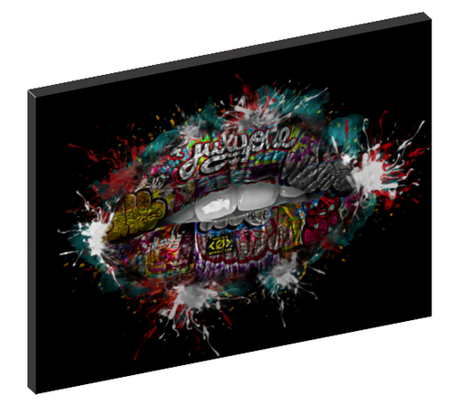 Canvas Wall Art - Graffiti Lips - Kissing Female Image