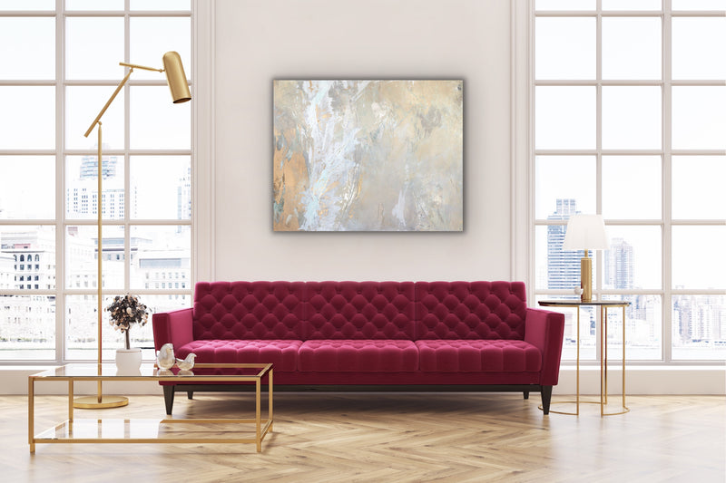 "Canvas print wall art modern abstract painting titled ""Light Within No. 1"" by Julia Contacessi featuring fluid layering of warm neutrals seems to glow from within."