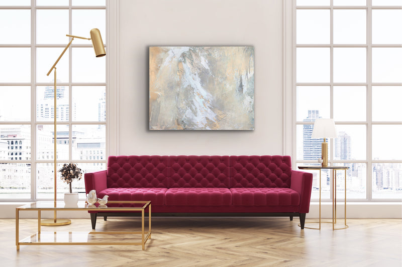 Modern abstract painting by Julia Contacessi featuring fluid layers of warm neutrals which seem to glow from within. Pairs beautifully with Light Within No. 1 (sold separately).