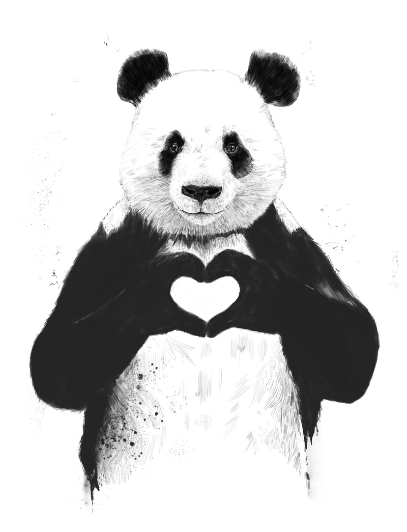 Canvas wall art of panda bear illustration titled All You Need Is Love by Balázs Solti.
