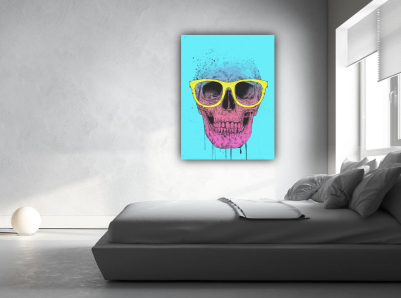 Canvas wall art illustration of pop art skull wearing glasses by Balázs Solti.