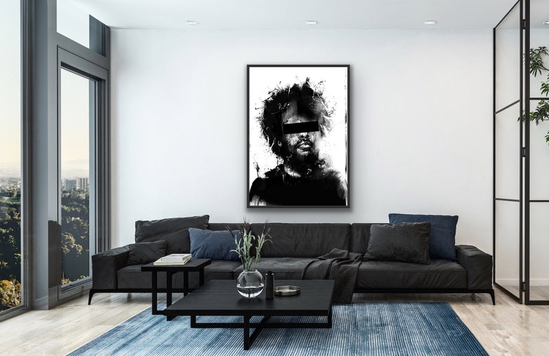 Canvas wall art figurative illustration done in black and white by Balázs Solti.