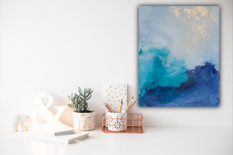 Canvas print wall art of modern abstract painting by Julia Contacessi featuring crashing waves colliding below a beautiful, bright sky.