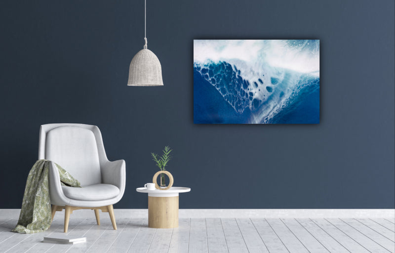 "Canvas wall art modern abstract painting titled ""Soaring"" by Julia Contacessi featuring beautiful tones of sea blue and white."