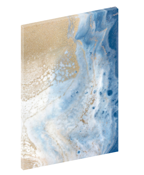 "Canvas wall art modern abstract painting titled ""Soft Roar No. 1"" by Julia Contacessi featuring beautiful tones of blue, white, and gold."