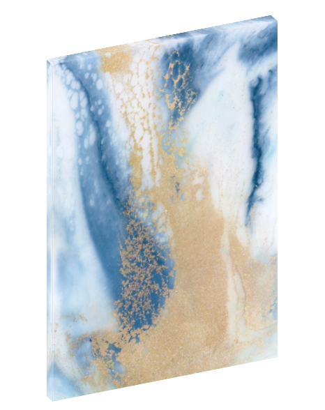 "Canvas wall art modern abstract painting titled ""Soft Roar No. 2"" by Julia Contacessi featuring beautiful tones of blue, white, and gold."