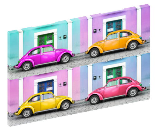 Canvas print wall art photograph of four Volkswagen Beetles.