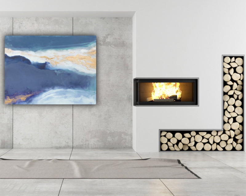 "Canvas wall art modern abstract painting titled ""Waters Reflection"" by Julia Contacessi featuring warm blue tones and hints of aqua. Striking gold accents mingle with white to complete this work."