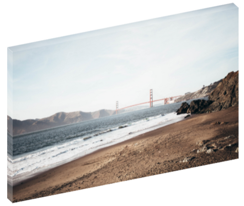 Canvas wall art of a photography of Baker Beach and Golden Gate Bridge in San Francisco by Shannon Strom.