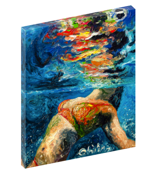Canvas wall art print of a women floating in the water by Chiara Magni.