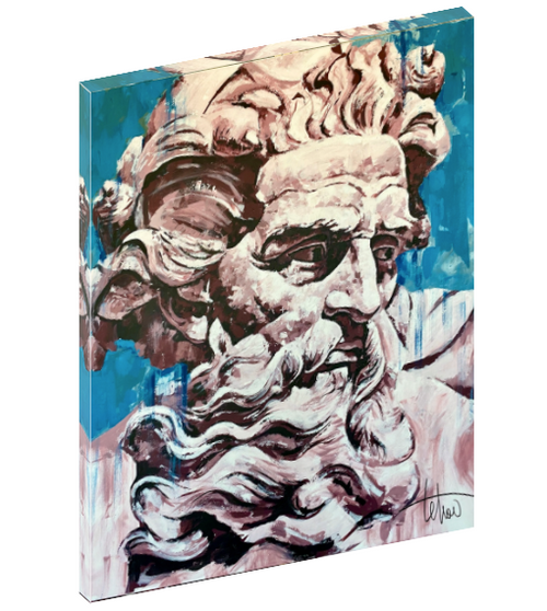 Canvas wall art print of the Greek god of sea, earthquakes, storms, and horses, Poseidon by Sergey Tehov.