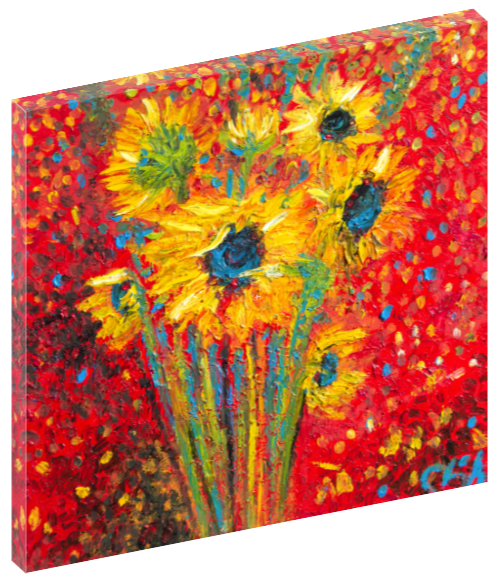 Canvas wall art print of red sunflowers by Chiara Magni.