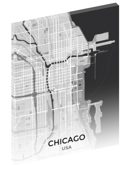 Canvas print wall art map of Chicago, Illinois.