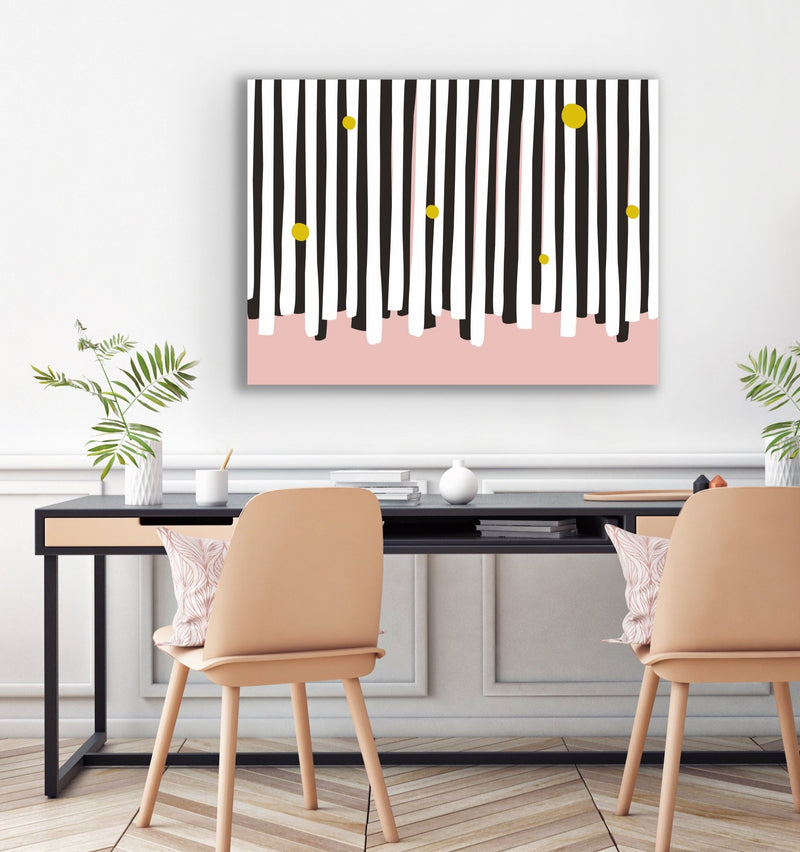 "Canvas print wall art of a modern abstract design titled ""Harpsichord"" by Izabela Pichotka. Pairs perfectly with ""Piano Keys"" and ""Clarinet"" (each sold separately)."